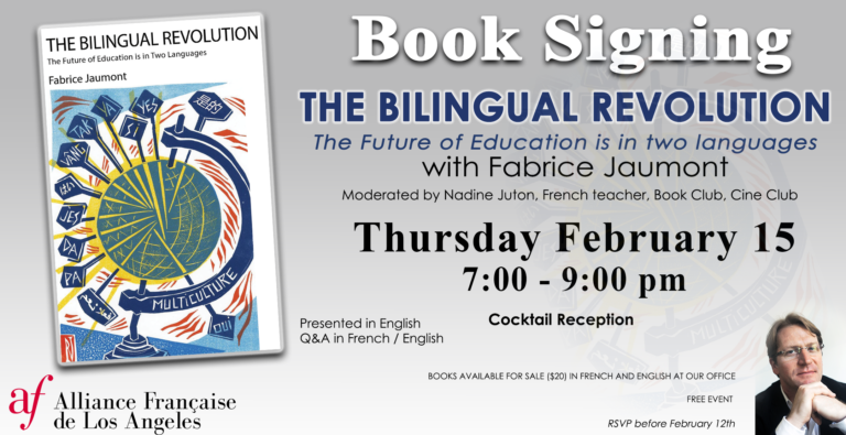 Book Signing Bilingualism Fabrice Jaumont Alliance Francaise de Los Angeles February 2018