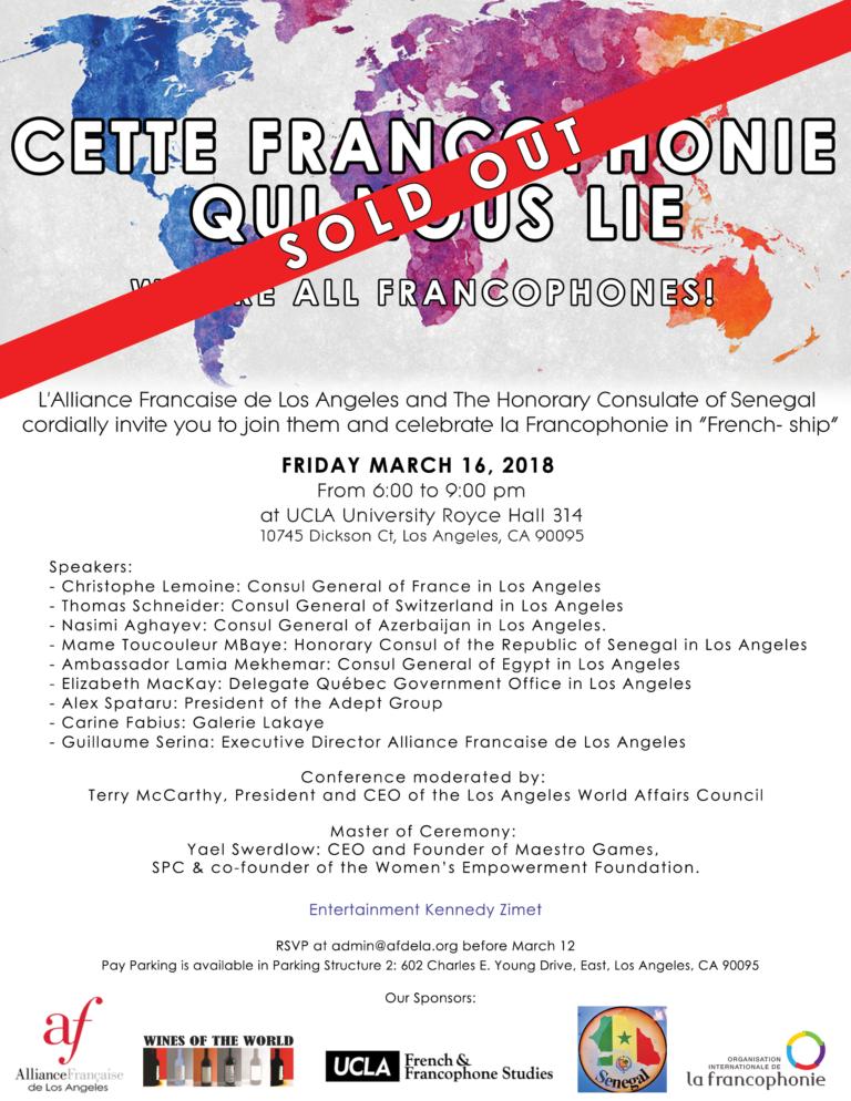 Francophonie alliance francaise de los angeles march 2018 SOLD OUT