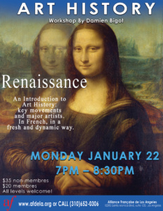 AF Exetension Art History workshop January 2018 Renaissance Alliance Francaise de Los Angeles