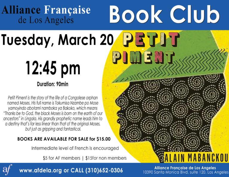 Book Club Petit Piment - Black Moses - Alliance Française de Los Angeles March 2018
