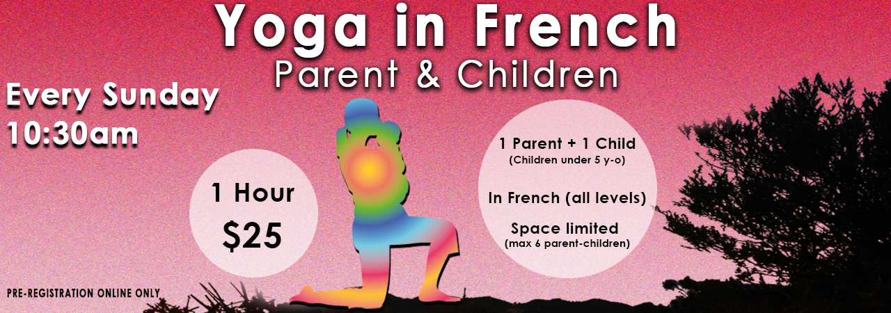 Yoga Parents and Kids in French Alliance Francaise de Los Angeles. Sunday Classes.