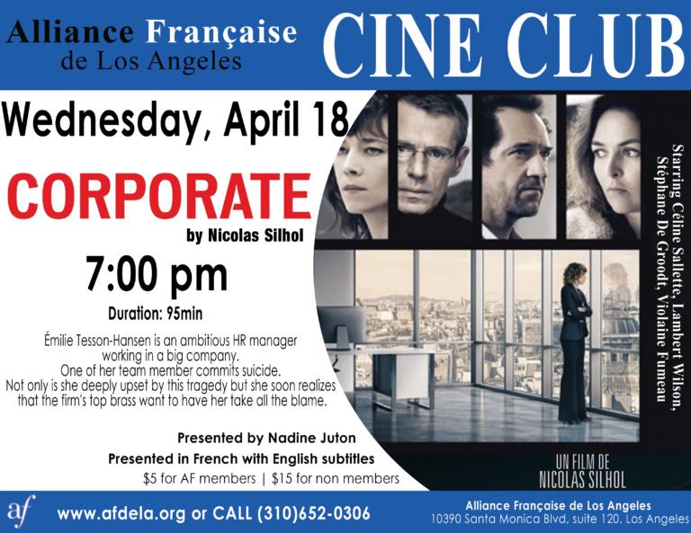 Cine Club Alliance Francaise de Los Angeles Corporate Nicolas Silhol April 2018