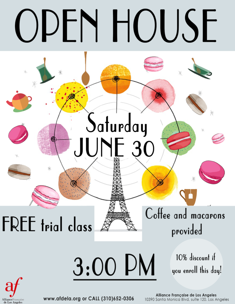 Open House Summer 2018 Macarons and Coffee at Alliance Française de Los Angeles. Learn French with us!